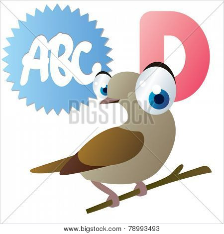 D is for vector cute cartoon isolated Dove