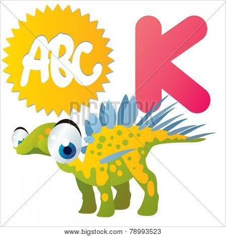 K is for vector cute cartoon isolated Kentrosaurus