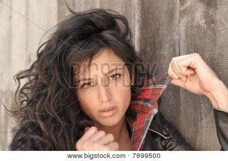 Beautiful brunette model.