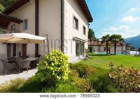 Architecture, white house with garden