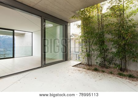 Architecture, modern apartment, view from the veranda