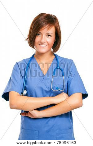 Portrait of a friendly medical worker. Isolated on white