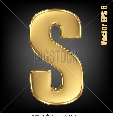 Vector letter S from gold solid alphabet. Uppercase golden font collection. EPS 8