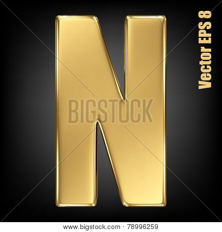 Vector letter N from gold solid alphabet. Uppercase golden font collection. EPS 8