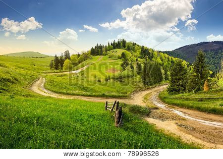 Cross Road On Hillside Meadow In Mountain
