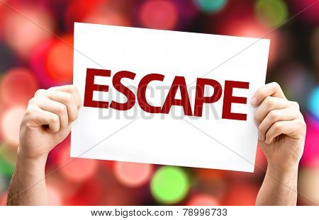 Escape card with colorful background with defocused lights
