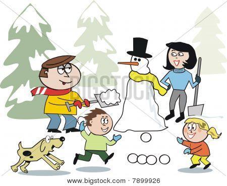 Family in snow cartoon