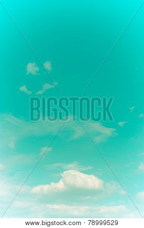 Retro Sky And Clouds Background.