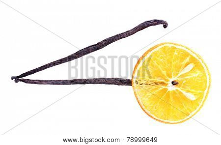 Dried orange with vanilla beans isolated on white