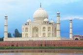 stock photo of india gate  - The Taj Mahal the crown of palaces is a white marble mausoleum located in Agra Uttar Pradesh India - JPG