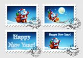 pic of letters to santa claus  - Postage stamp for an envelope with a letter with a picture of Santa Claus - JPG