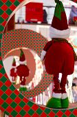 picture of elf  - Christmas elf in a ring watching the other elfs leave