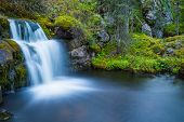 stock photo of waterfalls  - Wild little waterfall flowing in peaceful place - JPG