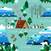 picture of christmas theme  - Landscape of Christmas theme in map style seamless pattern close up - JPG