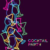 pic of cocktail menu  - Abstract colorful cocktail glass seamless background - JPG