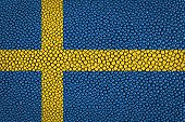 stock photo of stingray  - Sweden flag painted on stingray skin texture - JPG
