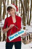 stock photo of north-pole  - Beautiful woman elf holding a north pole sign - JPG