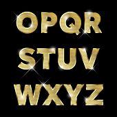 stock photo of alphabet  - Gold glittering  metal alphabet - JPG