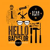 foto of bachelor party  - Set of grunge design element for stag party - JPG