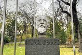 foto of politician  - Monument to Karl Renner next to the Austrian Parliament on Ringstrasse Vienna Austria - JPG