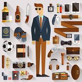 stock photo of outfits  - Flat design concept vector illustration of every day carry and outfit accessories things tools devices essentials equipment objects clothes - JPG