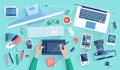 stock photo of creativity  - Flat design vector illustration of modern creative office workspace workplace of a designer - JPG