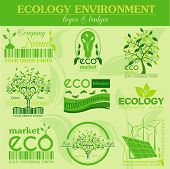 picture of ecology  - Set of ecology environment and recycling logos - JPG