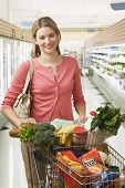 stock photo of grocery cart  - Beautiful young woman poses in a grocery store with a shopping cart full of food - JPG