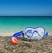 picture of goggles  - goggles and snorkel diving on the coast - JPG