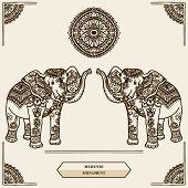 stock photo of mehendi  - Elephant with pattern in the style of mehendi - JPG
