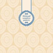 stock photo of mehendi  - Floral pattern in the style of mehendi - JPG