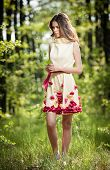 foto of fairies  - Young beautiful girl in a yellow dress in the woods - JPG