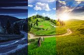 foto of cross hill  - day and night composite autumn landscape - JPG