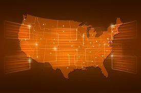 stock photo of usa map  - USA Map World map News Communication logistics yellow gold - JPG