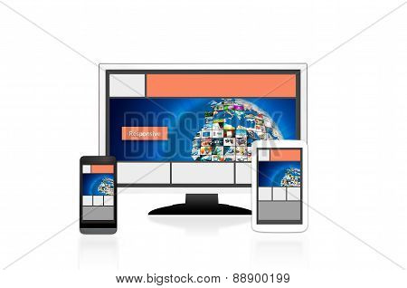 Responsive Web Design Layout On Different Devices. Set On White Background