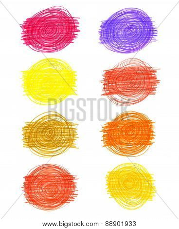 Set Of Abstract Color Drawn Elements