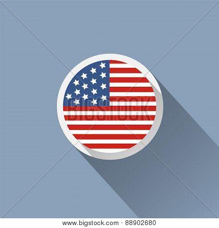Usa Flag Button Icon