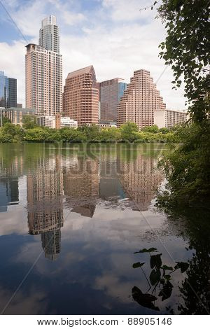 Austin City Skyline Under First Street Bridge Colorado River