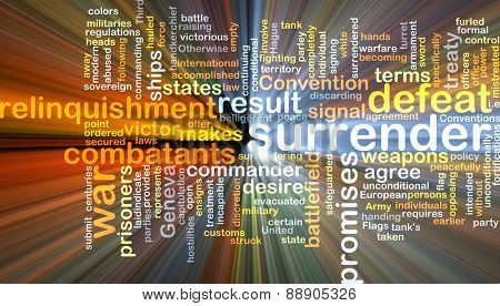 Background text pattern concept wordcloud illustration of surrender defeat glowing light