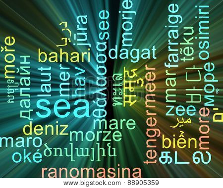 Background concept wordcloud multilanguage international many language illustration of sea glowing light