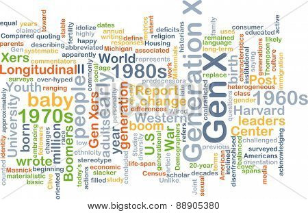 Background text pattern concept wordcloud illustration of generation gen x