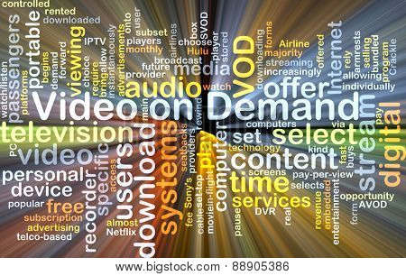 Background text pattern concept wordcloud illustration of Video on Demand VOD glowing light
