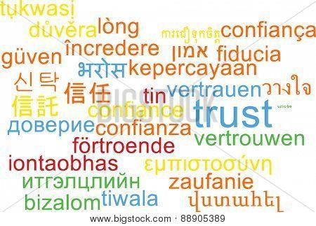 Background concept wordcloud multilanguage international many language illustration of trust