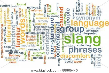 Background text pattern concept wordcloud illustration of slang language