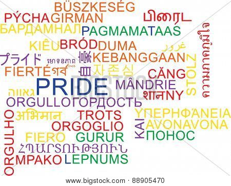 Background concept wordcloud multilanguage international many language illustration of pride