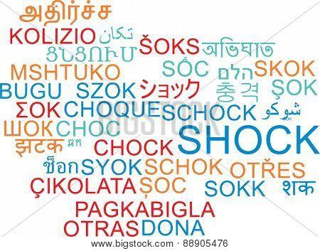 Background concept wordcloud multilanguage international many language illustration of shock