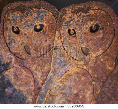 Twin Owl Metal art