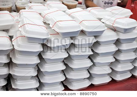 Packed Meals In White Containers
