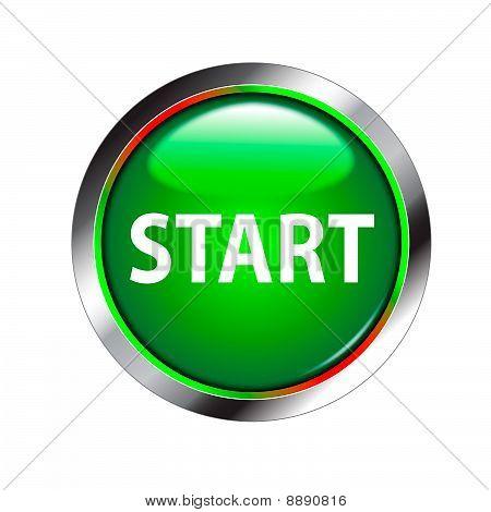 start shiny green button