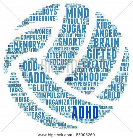 ADHD Ball Shaped Sports Word Cloud